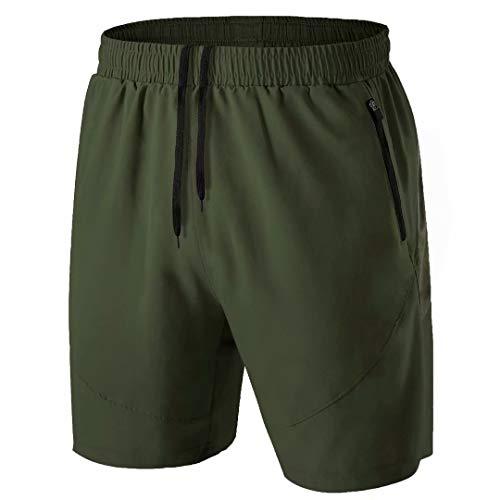 Herren Sport Shorts Kurze Hose Schnell Trocknend Sporthose Leicht mit Reißverschlusstasche(Armeegrün,EU-XL/US-L)