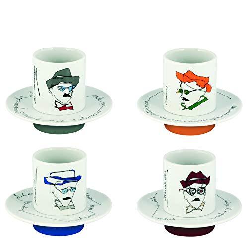 Conj. C/ 4 Xícaras de Café Com Pires, Multicolor, Heterónimos, Vista Alegre