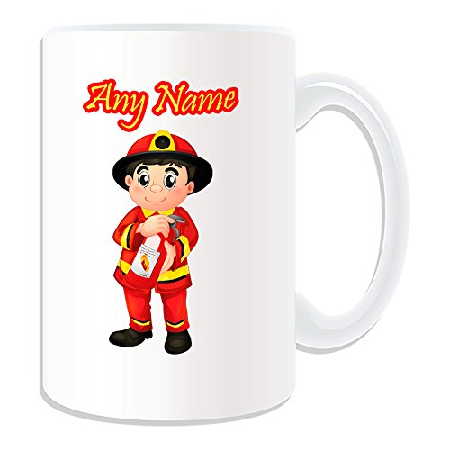 UNIGIFT Gepersonaliseerd geschenk - Grote brandweerman met brandblusser mok (Carrière Design Thema, wit) - Naam/boodschap op uw unieke mok - Rood uniform