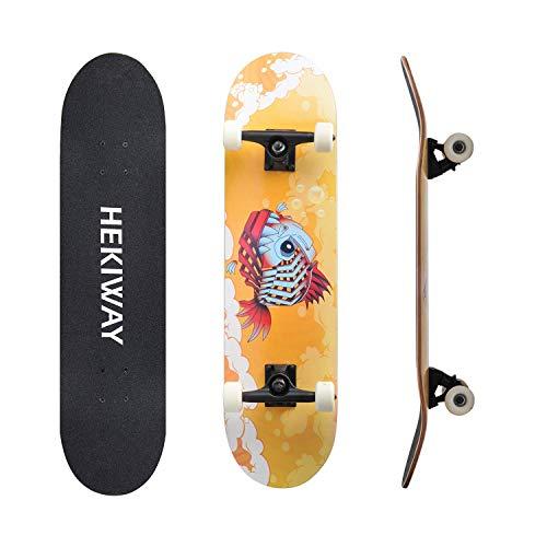 HEKIWAY Skateboard Deck, Complete Board met ABEC-7 lager 7-laags 90A Hard Maple Deck, Volwassenen Kids Skateboard, 31 x 8 x 5 lnches belasting 220 lb voor beginners en professionals
