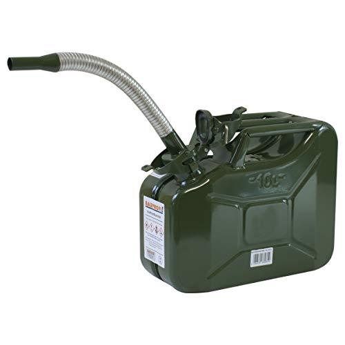 Stahlblechkanister oliv 10 Liter + Benzinauslaufrohr Benzinkanister Kanister Set