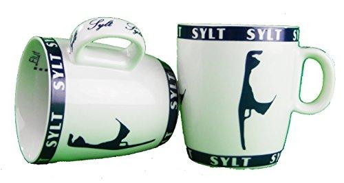 osters muschel-sammler-shop Kaffeebecher/Teebecher/blau-Weiss/Syltmotiv/Motiv Sylt/Sylter Becher/Strandtasse-Becher/Sylt - Geschenk-Artikel