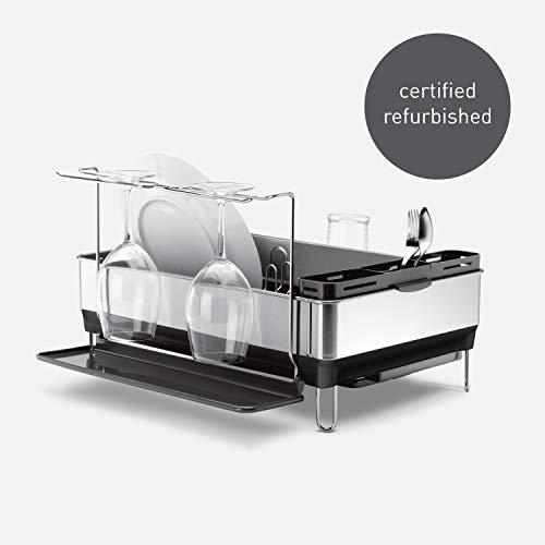 simplehuman Kitchen Steel Frame Dish Rack With Swivel Spout, Fingerprint-Proof Stainless Steel Frame, Grey Plastic