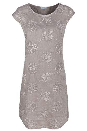 PEKIVESSA Damen Leinenkleid Stickerei Sommerkleid Kurzarm Sand 40 (Herstellergröße L)