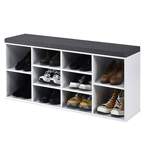 RELAX4LIFE Schuhbank mit Sitzfläche, Schuhregal aus Holz, Schuhkommode mit 2 verstellbaren Regalen, Schuhablage mit Sitzkissen, Schuhtruhe für Flur & Eingang, Sitzbank, 104 x 30 x 48 cm (Weiß)