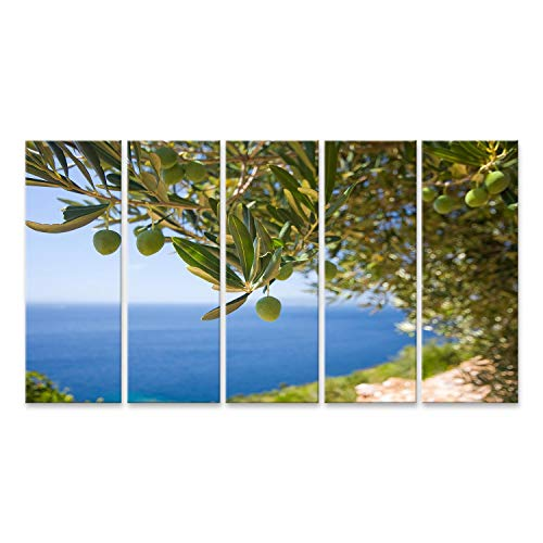 islandburner, Bild auf Leinwand EIN Olivenbaum auf dem Meeresgrund Wandbild Leinwandbild Kunstdruck Poster 170x80cm - 5 Teile XXL