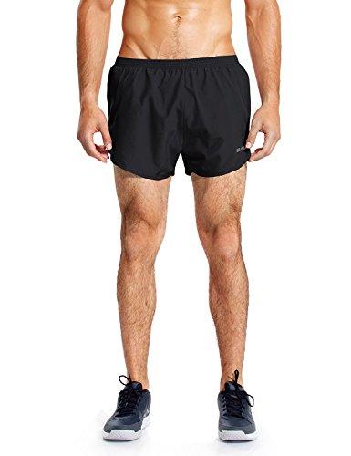 BALEAF Men's 3 Inches Running Shorts Quick Dry Gym Athletic Shorts Black Size M
