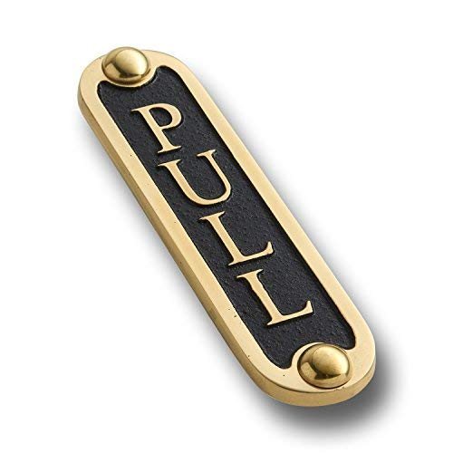 The Metal Foundry Pull Brass Door Sign. Traditional Style Home Décor Wall Plaque Handmade UK.