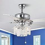 52 inch Modern Crystal Ceiling Fan with Remote Control,...