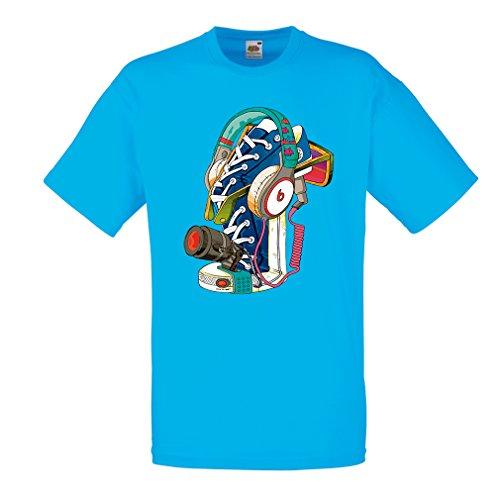 lepni.me Heren T-shirt Street Art Sneakers met Hoofdtelefoon - Muziek, Feest, Hiphop. Hipster, alternatieve mode