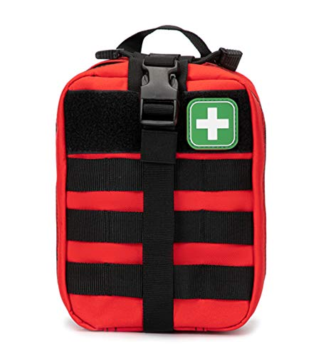 Jipemtra Tactical First Aid Bag MOLLE EMT IFAK Pouch Rip-Away Trauma First Aid Responder Medical Emergency Utility Bag Military Tactical Pouch for Outdoors (Red)