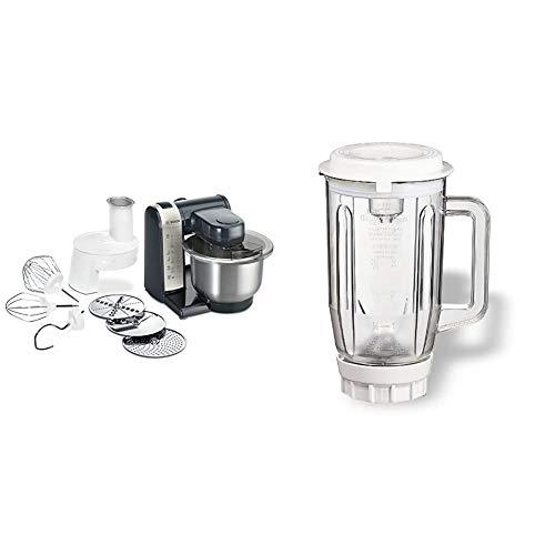 Bosch MUM48A1 Küchenmaschine, Kunststoff, 3.9 liters, schwarz & MUZ4MX2 Mixer-Aufsatz Kunststoff