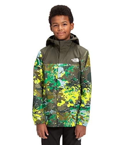 The North Face Boys' Resolve Reflective Jacket, Sulphur Spring Green Cloud Camo Print, XL