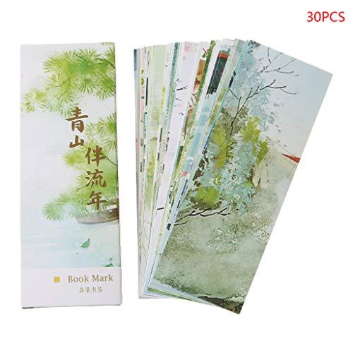 Shefii 30 marcapáginas creativas de papel estilo chino para pintar tarjetas retro y hermoso marcapáginas conmemorativos regalos