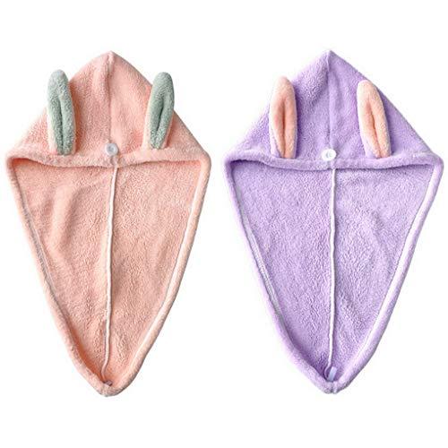 ACMEDE Asciugamano Capelli a Turbante per Neonati Bambini, 2 Pezzi Capelli a Turbante in Microfibra Asciugatura Rapi da Ultrassorbente, Asciugamano pe