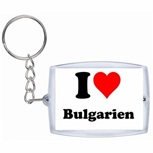 """EXCLUSIVO: Llavero """"I Love Bulgarien"""" en Blanco, una gran idea para un regalo para su pareja, familiares y muchos más! - socios remolques, encantos encantos mochila, bolso, encantos del amor, te, amigos, amantes del amor, accesorio, Amo, Made in Germany."""