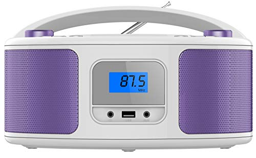Tragbarer CD-Player | Boombox | CD/CD-R | USB | FM Radio | AUX-In | Kopfhöreranschluss | CD Player | Kinder Radio | CD-Radio | Stereoanlage | Kompaktanlage (Loopy Lila)