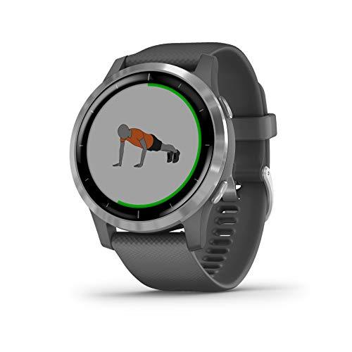 Garmin Vivoactive 4 - Reloj inteligente con GPS y funciones de control de la salud durante todo el día, color plata y gris