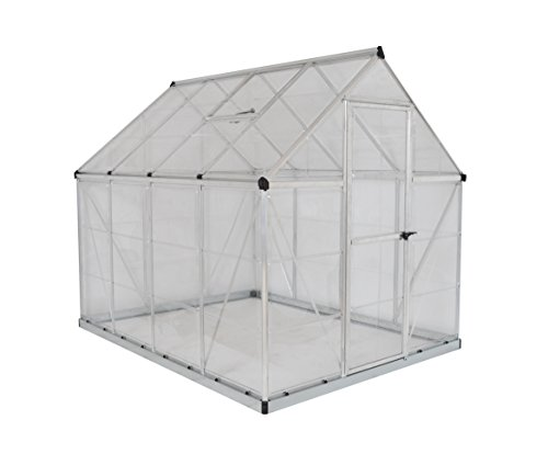 Palram Harmony 6x8 Silver Greenhouse - Clear Polycarbonate, Aluminum Frame, Base Included