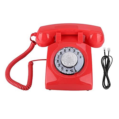 BTMING Teléfono de dial rotativo Vintage Retro Línea Fija para Hotel Family Office Telefono Fijo para Casa Telefon Haus Telefonillo Porero (Color : Red)