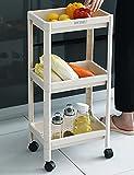 キッチンワゴン キャスター付き 3段 キッチンラック 耐荷重50kg キッチン収納カート 浴室収納ラック