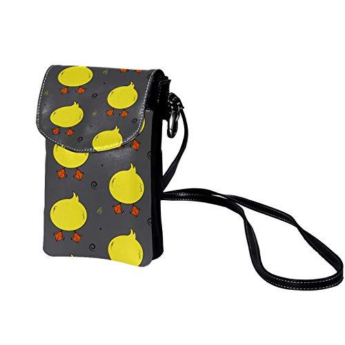 Haminaya Mujer Bolso para teléfono móvil Culata de pato amarillo Bolso bandolera Monedero Mini Bolso de cuero ligero para teléfono móvil 19x12x2cm