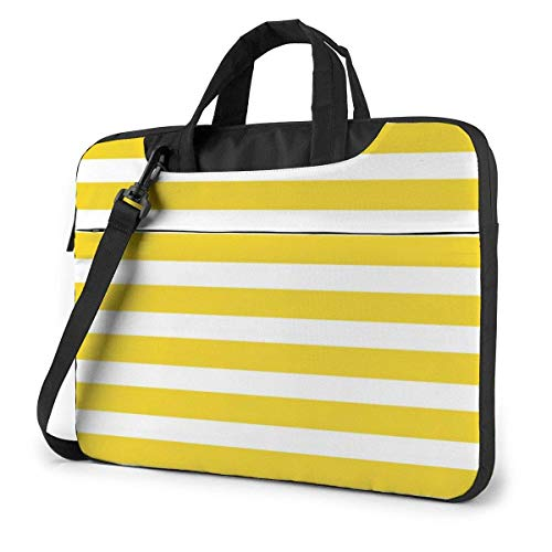 Lemon Zest Yellow Stripes Pattern Printed Laptop Bag,Business Briefcase