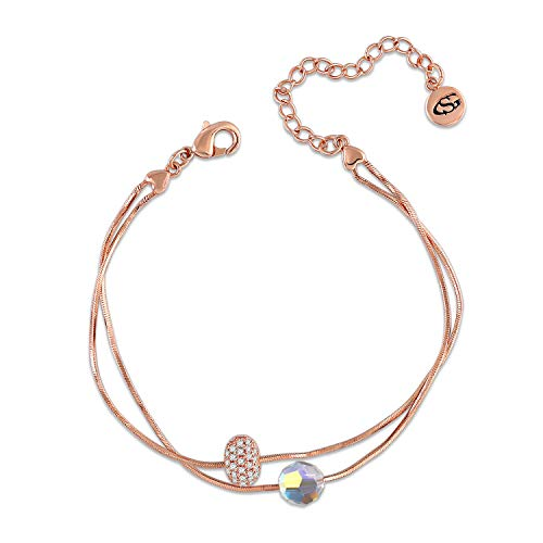 Pulsera clásica para mujer de oro rosa de 2 cuerdas de George de Smith, ideal para pulsera, cristal de Swarovski, regalo para mujer