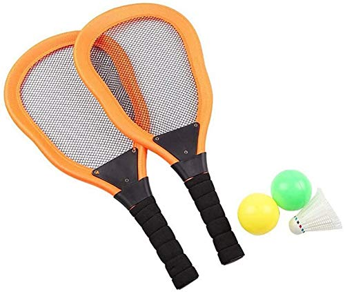 RENFEIYUAN Kinder Tennisschläger Set, Badminton Tennisschläger Bälle Set, Kinder im Freien (orange 2 stücke Racket + 1 stück Badminton + 2 stücke Ozeanball) Badminton Sets (Color : Orange)