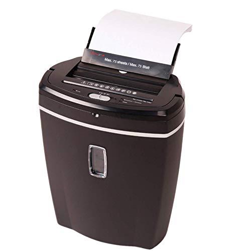 Genie 755 AFX Aktenvernichter, mit Autofeed Funktion (Stapel bis75 Blatt einlegen, automatischer Einzug), Partikelschnitt (Sicherheitsstufe P-4), inkl. Papierkorb, schwarz