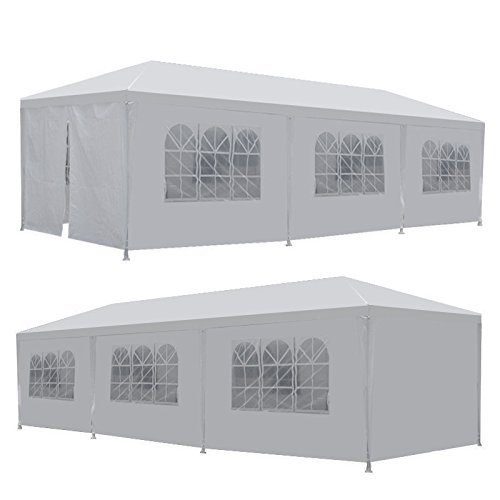 ZENY 10 X 30 Outdoor Wedding Party Tent Camping Shelter Gazebo Canopy with Sidewalls Easy Set Gazebo BBQ Pavilion Canopy Cater Events, white