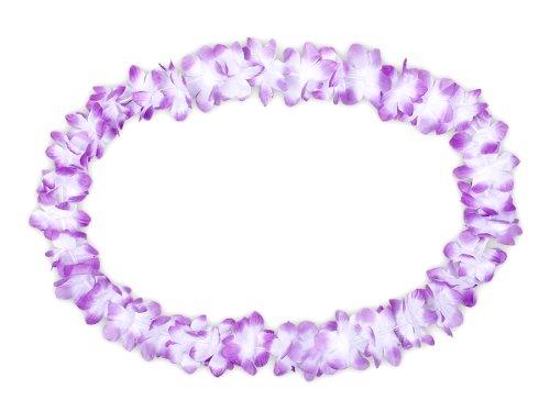 Lot de 60 Collier Hawaïen violet blanc HK-03 textile hawaien Hawaï hawaii Hula fleur pétale ambiance tropique déguisement fête beach party été plage printemps accessoire fête mariage anniversaire