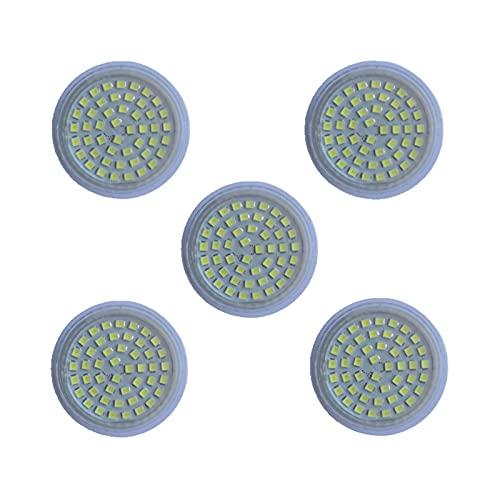 Bombillas LED 24V MR16 GU5.3, 5W (equivalente a 50W) Bombilla de foco, 24-60 voltios, base de dos clavijas GU5.3, 120 grados 400-450Lumen Paquete de 5 bombillas no regulables [Clase energética