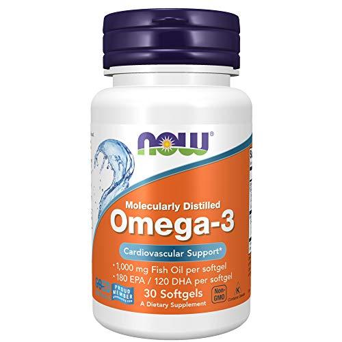 Now Foods Omega-3, Molecularly Distilled   1,000 mg Fish Oil per Softgel   30 Softgels