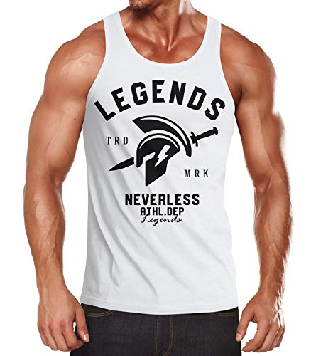 Neverless Cooles Herren Tank-Top Gladiator Sparta Gym Athletics Sport Fitness Muskelshirt Muscle Shirt weiß L
