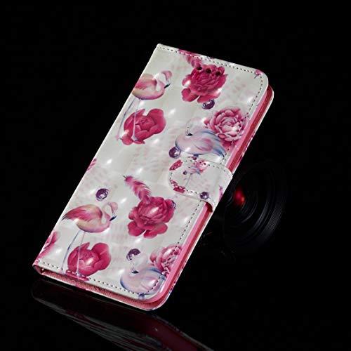 THENGGUIFANG-PHONE Case zaak telefoon case voor iPhone 6 & 6s 3D-schilderij patroon gekleurde tekening horizontale lichte slag PU lederen doos met kaartsleuven en portemonnee telefoon hoes, flamingo