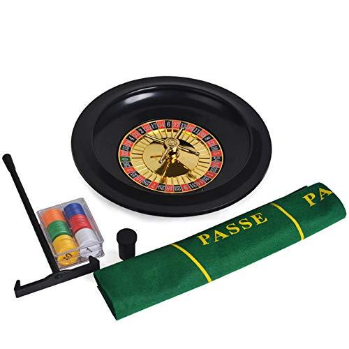 Pevfeciy Roulette Spiel 10 Zoll Roulette-Rad Roulette Set,Roulette-Deluxe Set Roulette Wheel Poker Chips Set Spaß Freizeit Unterhaltung Tischspiele für Erwachsene Kinder,A