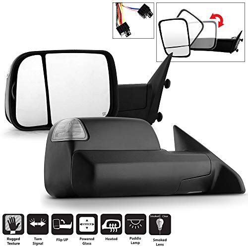 Acanii - Telescoping Power Heat SMOKE LED Signal Towing Mirrors Passenger+Driver For Left+Right 2009-2012 Dodge Ram 1500