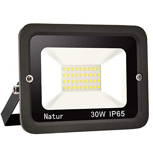 1er 30W LED Strahler Außen Superhell LED Fluter 6000K LED Scheiwerfer IP65 Wasserdicht LED Flutlicht Außenstrahler Außenleuchte für Werkstatt Garage Garten (Kühles Weiß, 30W)
