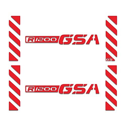 Etiqueta engomada de la Caja de la Motocicleta Universal para R1200GSA R1200 GSA R 1200GSA Motocicleta Top Caja de Cola Cajas Panniers Aluminio Etiqueta de Equipaje Calcomanías (Color : Red)