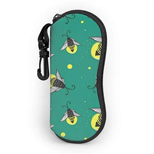 AOOEDM Sonnenbrillenetui mit Karabinerhaken, tragbare Brille Softcase Blue Firefly Cartoon Fireflies Bugs Green Drawn Hand Animal
