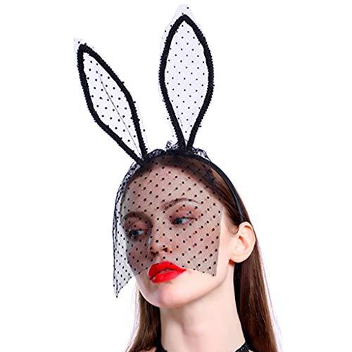 Faguo Frauen Halloween Sexy Kaninchen Ohren Stirnband mit Half Face Lace Dot Schleier Haarbügel