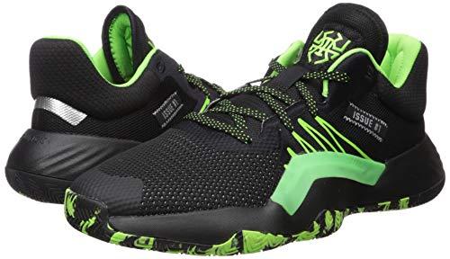 adidas Men's D.O.N. Issue #1 Basketball Shoe, Black/Team Solar Green/Silver Metallic, 10.5 Medium US