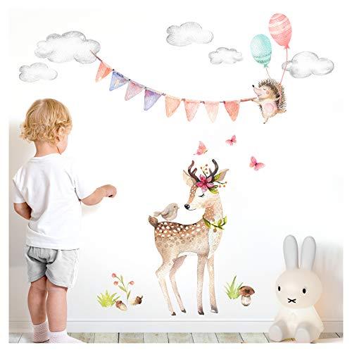 Little Deco Wandaufkleber REH und Igel mit Luftballons I Motiv 1-135 x 138 cm (BxH) I Wolken Girlande Wandtattoo Mädchen Kinderzimmer Aufkleber Sticker Babyzimmer DL477-1
