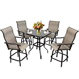 5-Piece Outdoor Swivel Bar Set - Metal Height Patio 4 Bar Chairs & 1 Table for Bistro, Lawn, Backyard (5)