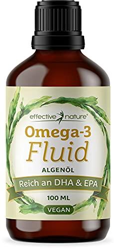 effective nature - Omega-3 Öl EPA & DHA - 100 ml - Veganes Algenöl mit Mehrfach Ungesättigten Fettsäuren - 1116 mg pro Tagesdosis - Ohne Zusätze