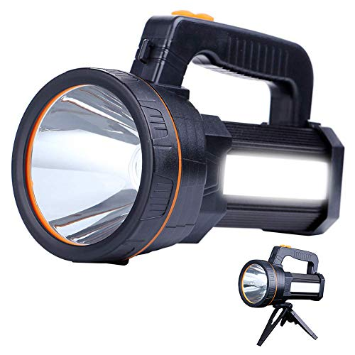 Eornmor High Power LED Rechargeable Spotlight Handheld 6000 Lumen Super Bright Waterproof Large LED Flashlight High Lumen Portable Searchlight Floodlight (Black)