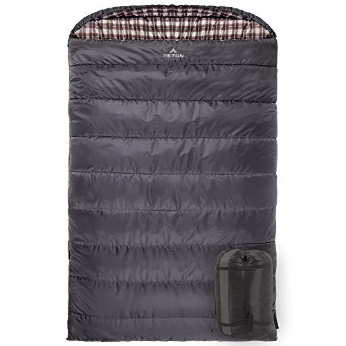 """TETON Sports Fahrenheit Mammoth 0F/-18C Queen-Size Double Sleeping Bag; Warm and Comfortable; Double Sleeping Bag Great for Family Camping; Compression Sack Included, Grey, 0F/ 94"""" X 62""""/ Grey (1077)"""