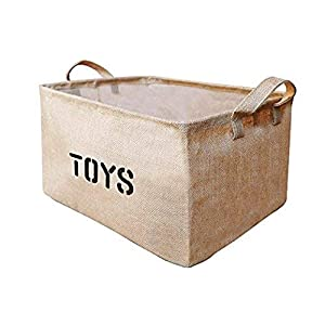 Youdepot Large Jute Storage Bin 17 x 13 x 10 inches Large Enough for Toy Storage – Storage Basket for organizing Kids Toys, Baby Clothing, Children Books, Gift Baskets-1 Pcs Toys Storage Bin