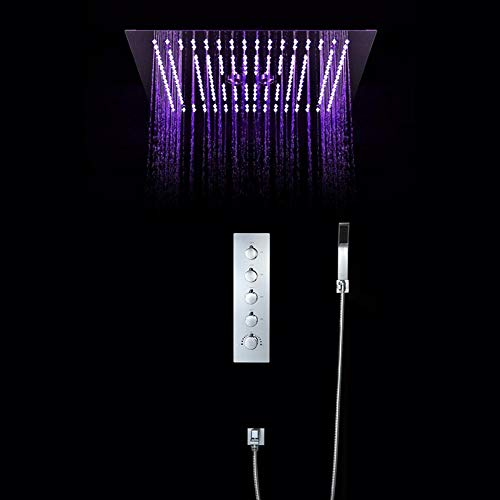Sale!! Boyishengshi Concealed Shower Set 400400 LED top Spray Wall Thermostatic Shower Head,B